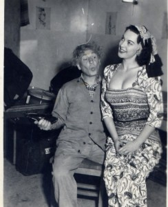 Harpo Marx and Juli Lynne in a dress of her own design.